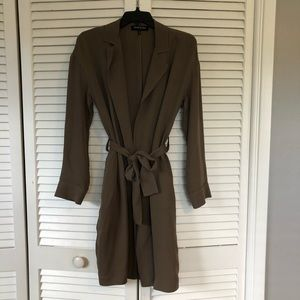 Kenneth Cole gray silk trench coat size S